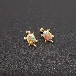 Jewelry - 14K Gold Solid Real 14KT Turtle Pnk Opal Earrings